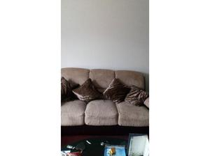 3 piece suite. Brown and cream. With cushionr