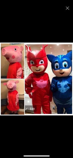 Mascots Hire - Peppa pig, Owlette (PJ Masks) and Cat Boy (PJ Masks)