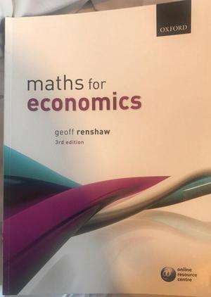 Maths for Economics by Geoff Renshaw (Paperback, )