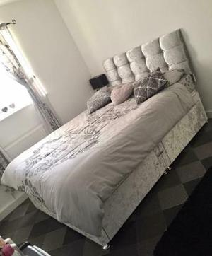 Double crushed velvet bed frame