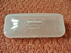 Specsavers Clear Transparent Plastic Glasses / Spectacles Hard Case / Holder