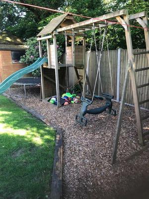 Wooden climbing frame and slide/swing set