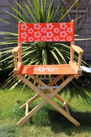 4 x Wooden Folding Directors Chairs with Bright Retro Daisy Design