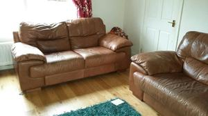 8ft & 7ft tan leather sofas in v good condition 3 and 2 seaters, electic fire & surround £80
