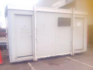 Portable cabin for sale. Set up as kitchen and toilet. Located in Welwyn Garden City