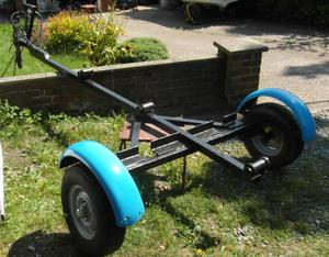 Road Trailer for Fishing Boat. Refurbished with New Hubs and Bearings. Painted Black Hammerite