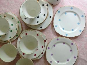 Royal Vale Bone China ' Polka Dot' Tea Cups, Saucers and