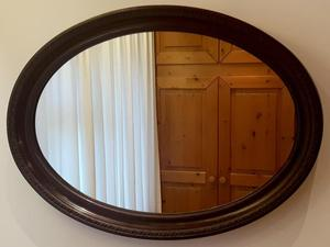 Vintage OVAL MIRROR with wooden carved frame H/W 87x62cm