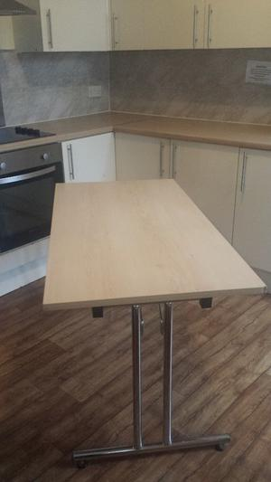 Wooden Office Folding Table with Chrome Legs