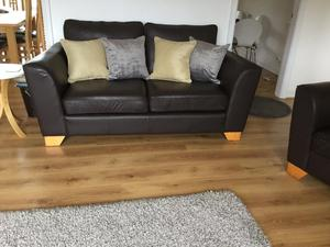 Marks and Spencer's leather settee and chair