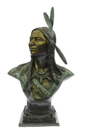 Real Bronze Native Indian Chief Bust 60Lbs Western Art Deco