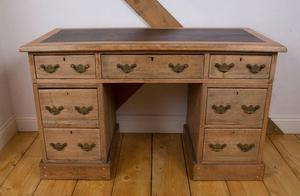 Stripped Pine Leather Inset Desk