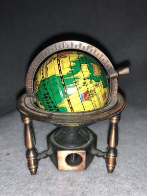 Vintage Die Cast Mini Pencil Sharpener World Globe on Stand