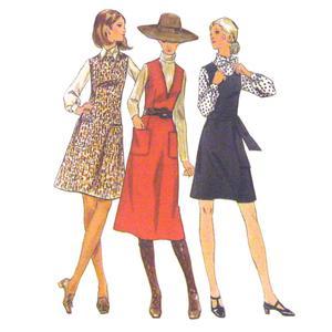 Vtg 60s Butterick  Misses Dress Jumper Mod Hippy Office