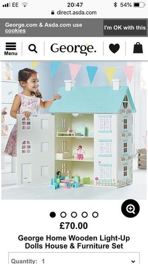 Asda wooden dolls house with lights and stable