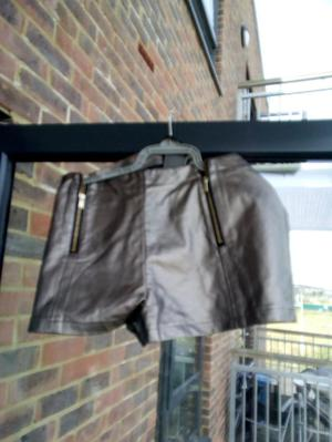 Olive green and brown glitter shorts