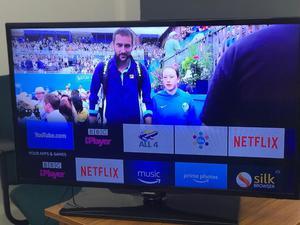 "Samsung 40"" Led tv Youtube Netflix Smart WiFi via Amazon Stick Excellent Condition"