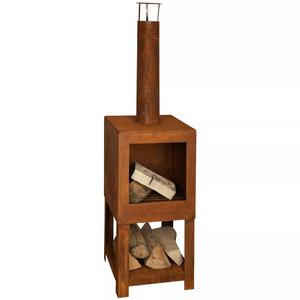 Esschert Design Outdoor Fireplace with Firewood Storage Rust