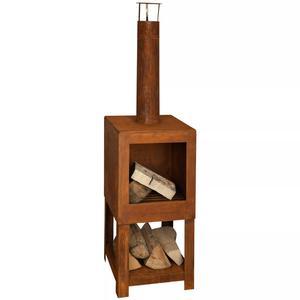 Esschert Design Outdoor Fireplace with Firewood Storage Rust