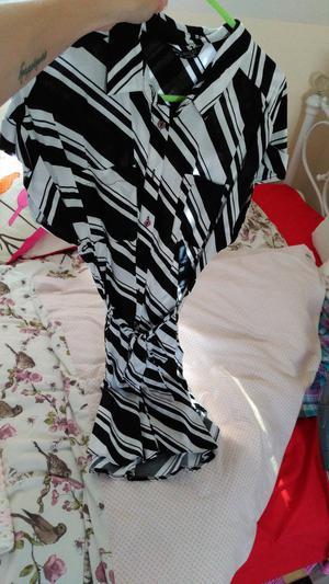 Ladies Black & White Striped Shirt Dress