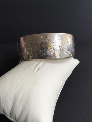 Old Silver Forget me Not Bracelet with Gold Inlay by Smith &