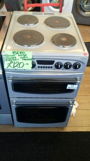 BEKO 50CM WIDE DOUBLE OVEN ELECTRIC COOKER