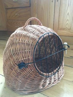 Cat basket / carrier wicker igloo design