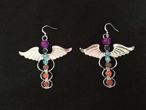 Chakra Gemstone Beads Fashion Jewellery Angel Wings Earrings