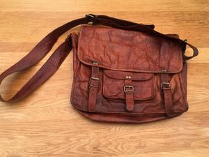 Leather Dispatch Side Bag - Real Goat Leather - Antique Retro Vintage