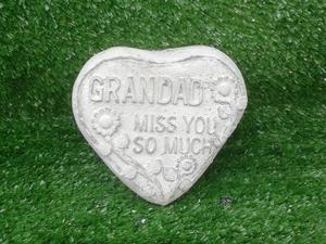 New Concrete Ornament with words (Grandad Miss you so much)