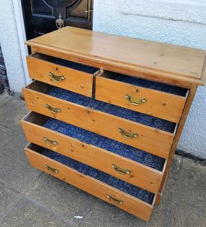 Old Pine Chest of 5 Drawers