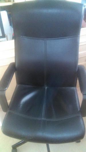 Black faux leather computer / desk chair