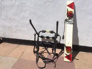 Used Hollywood 3 bike cycle rack and Halfords cycle carrier lighting board