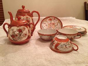 Antique Japenese Kutani Porcelin Tea Set.