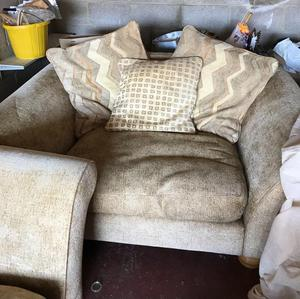Cream sofa with cushions