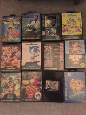 Vintage gaming Sega megadrive with controllers & games