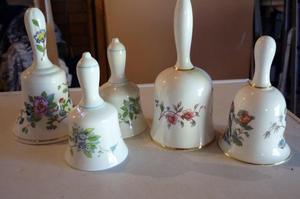 Bone china bells, Wedgwood, Aynsley, Coalport