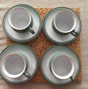 Denby 'Regency Green' cups & saucers
