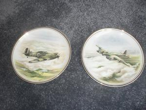 EDWARDIAN FINE BONE CHINA AIR CRAFT PLATES - COLLECTABLE - MOSQUITTO & HAWKER HURRICANE