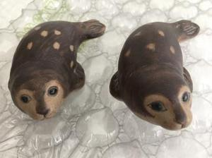 Pair of Poole pottery seals