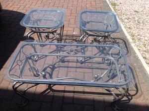 Set of 3 vintage style glass top coffee tables