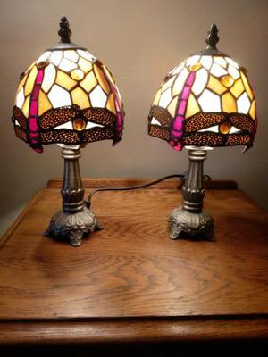 pair of Tiffany style dragonfly lamps