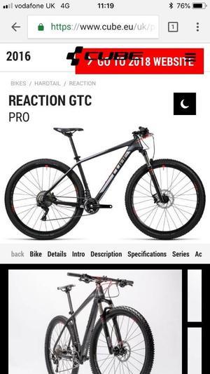 Cube bike reaction gtc pro/ carbon frame never bin ridden.