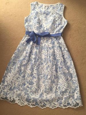 Per Una Premium Lupin Blue & White Embroidered Fit & Flare Dress Size 12