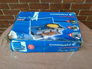 Camping Gaz Cooker, double burner and grill, with grill pan,