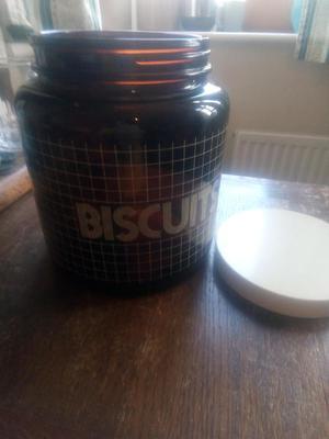 Vintage brown glass biscuit jar