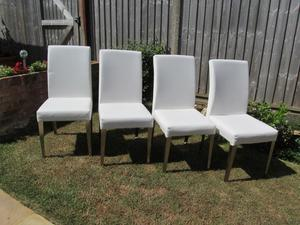 4 White Faux Leather Dining Chairs