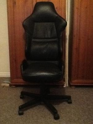 CAR-SEAT STYLE OFFICE CHAIR - BLACK LEATHER- GOOD CONDITION