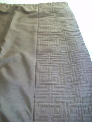 Chocolate brown faux silk curtains, quilted center section