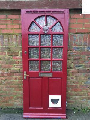 Door, half glazed with cat flap,  x 78 inches, £